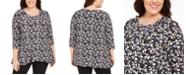 Anne Klein Plus Size Printed 3/4-Sleeve Tunic