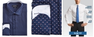 Nine West Men's Slim-Fit Wrinkle-Free Performance Stretch Navy Ground with Red & White Print Dress Shirt