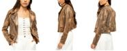 Free People Snake Skin Fenix Faux-Leather Moto Jacket