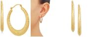 Macy's Radiant Textured Small Hoop Earrings in 10k Gold