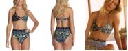 Raisins Juniors' Printed Bikini Top & High-Waist Bottoms