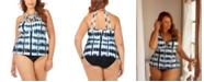 Raisins Curve Trendy Plus Size Juniors' Fiji Printed Boa High Neck Tankini Top & Bottoms