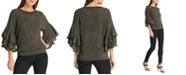 DKNY Metallic Ruffle-Sleeve Sweater