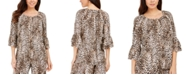 JM Collection Ruffle-Sleeve Cheetah-Print Crepon Top, Created For Macy's