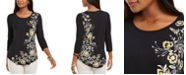 JM Collection Floral Scoop-Neck Top, Created For Macy's