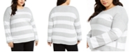 Eileen Fisher Plus Size Cotton Striped Sweater