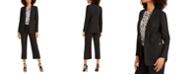 Calvin Klein Petite Parker Open-Front Blazer& Zipper-Pocket Cropped Twill Pants
