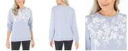 Karen Scott Floral-Print Fleece Top, Created For Macy's