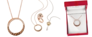 """Le Vian Chocolate Diamond Ombré Circle 18"""" Adjustable Pendant Necklace (1-1/5 ct. t.w.) in 14k Rose Gold , 14k White Gold or 14k Yellow Gold"""
