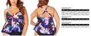Raisins Curve Trendy Plus Size Juniors' Lagide Printed Atlantic Tankini Top