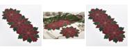 Saro Lifestyle Poinsettia Design Beaded Poinsettia Runner