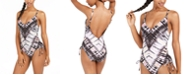 Bar III Tie-Dyed Low-Back One-Piece Swimsuit, Created for Macy's