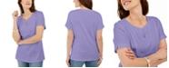 Karen Scott Woven Split-Neck Top, Created for Macy's