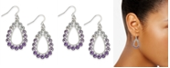 Charter Club Silver-Tone Crystal & Stone Ombré Drop Earrings, Created for Macy's