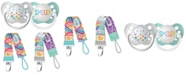 Ulubulu Rainbow Collection Rainbow Cloud and Smiley Pacifiers with Rainbow Sun and Rainbow Cloud Pacifier Clip Bundle