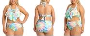 California Waves California Waves Trendy Plus Size Tie-Dye Flounce Bikini Top & High-Waist Bikini Bottoms, Created For Macy's