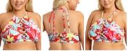 California Waves Trendy Plus Size Tropical Printed Halter Bikini Top, Created for Macy's