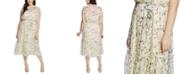 CeCe Plus Size Wisteria Vines Ruffled Midi Dress