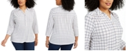 Charter Club Plus Size Plaid Polo Shirt, Created for Macy's