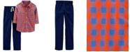 Carter's Little & Big Boys 2-Pc. Cotton Plaid Shirt & Poplin Pants Set