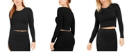 Bar III Bodycon Long-Sleeve Cropped Top, Created for Macy's