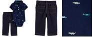Carter's Baby Boys 2-Pc. Cotton Alligator-Print Polo Bodysuit & Pants Set