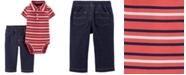 Carter's Baby Boys 2-Pc. Cotton Striped Polo Bodysuit & Pants Set