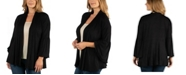 24seven Comfort Apparel Long Flared Sleeve Open Front Plus Size Cardigan