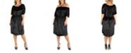 24seven Comfort Apparel Off Shoulder Knee Length Black Velvet Plus Size Dress
