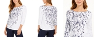 Charter Club Printed Boat-Neck Pima Cotton Top, Created For Macy's