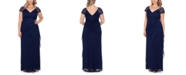 XSCAPE Plus Size Lace-Shoulder Gown