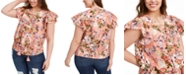 INC International Concepts INC Plus Size Cotton Lace-Up Flutter Top, Created for Macy's