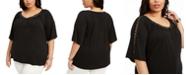 Belldini Plus Size Crochet-Trim Top
