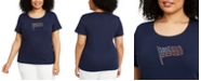 Karen Scott Plus Size Cotton Embellished Flag T-Shirt, Created for Macy's