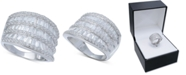 Macy's Cubic Zirconia Three Row Baguette Statement Ring in Sterling Silver