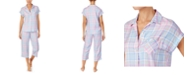 Lauren Ralph Lauren Plaid Short-Sleeve Capri Pajamas Set