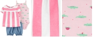 Carter's Baby Girls 3-Pc. Striped Cotton Top, Bodysuit & Shorts Set
