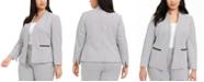 Nine West Plus Size Jacquard-Print Open-Front Blazer