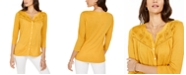 Style & Co Eyelet Button-Front Top, Created for Macy's