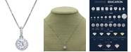 "Macy's Star Signature Diamond Macy's Star Signature Certified Round Diamond Halo 18"" Pendant Necklace (3/4 ct. t.w.) in 14k White Gold"