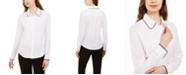 Calvin Klein Petite Colorblocked-Trim Blouse