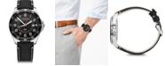 Victorinox Swiss Army Men's Fieldforce GMT Black Leather Strap Watch 42mm