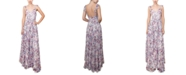 Crystal Doll Juniors' Pleated Floral Gown