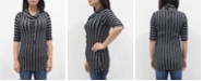 COIN 1804 Women's Vertical Stripe 3/4 Sleeve Cowl Neck Drawstring Top