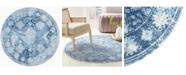 """Global Rug Designs Gretna Gre01 Blue 7'10"""" x 7'10"""" Round Rug"""