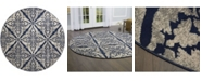 """Global Rug Designs Haven Hav12 Blue and Gray 7'10"""" x 7'10"""" Round Rug"""