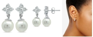 Macy's Imitation Pearl and Cluster Cubic Zirconia Drop Earrings Crafted in Silver Plate