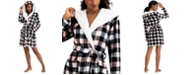 Jenni Hooded Buffalo Check Short Cozy Robe, Created for Macy's