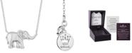 "Hallmark Diamonds Elephant Luck Pendant (1/8 ct. t.w.) in Sterling Silver, 16""+ 2"" extender."