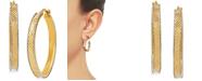 Macy's Medium Textured Two-Tone Hoop Earrings in 14k Gold & White Gold